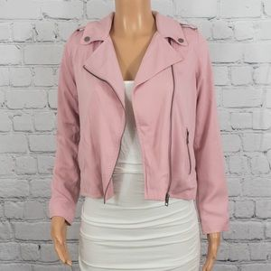 Who What Wear pink moto jacket